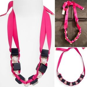 Trina Turk Lg  Bead Pink Ribbon Statement Necklace